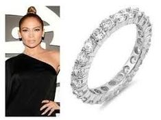 """O ur round cut stackable eternity ring is so elegant. Get JLO""""s fabulous style with our silver prong set band. Diy Jewelry Unique, Dainty Jewelry, Wire Jewelry, Boho Jewelry, Wedding Jewelry, Vintage Jewelry, Crystal Jewelry, Jewelry Shop, Jewelry Art"""