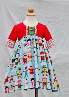Girls Christmas Carole Dress sz 2t  Ready to Ship by outtahand on Etsy
