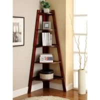 Furniture. brown wooden ladder triangle corner shelf with five rows shelves on brown wall and laminate flooring. Magnificent Ideas Of Triangle Corner Shelf Wood To Perfect You Interior Decoration Ideas