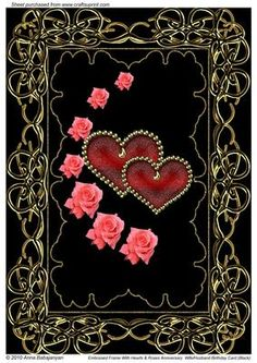 Embossed Frame with Hearts & Roses Anniversary Card (black) - CUP88335_96 | Craftsuprint