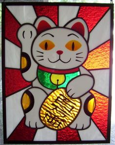 cute Japanese lucky cat manekineko stained glass by QUILTOCALYPSE, $160.00