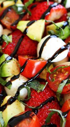 Avocado Strawberry Caprese Salad