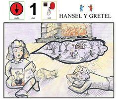 """MATERIALES - """"Hansel y Gretel"""" Cuento adaptado con pictogramas y láminas de Fátima Collado. http://arasaac.org/materiales.php?id_material=620"""