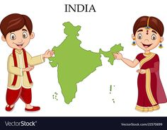 Cartoon indian couple wearing traditional costume vector image on VectorStock Indian Flag, Indian Gods, Indian Art, Country Costumes, Flag Background, Vector Background, Independence Day Poster, India Poster, Felt Books
