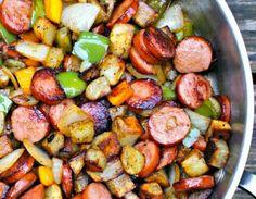Kebalsa, onions, peppers, and fried potatoes