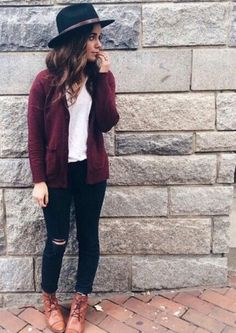 Burgundycardigan, whiteshirt, blackpants, brownshoes