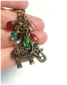 Sacred Elephant Key Chain Bag Charm Antique Bronze by BOHEMWRAPS