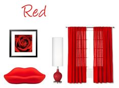 """""""Red"""" by lillieshade on Polyvore featuring interior, interiors, interior design, home, home decor, interior decorating, Heller and Threshold"""