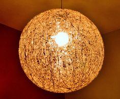 Check out Big Ball Hemp Light , 50cm diameter String Lamp , Pendant Ceiling Eco-friendly Lamp . Bar Lighting Art Deco lamp . Office lamp . Shadow Lamp on fourseasonscreations