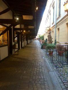 Ally way through Wroclaw, nice corner shops.