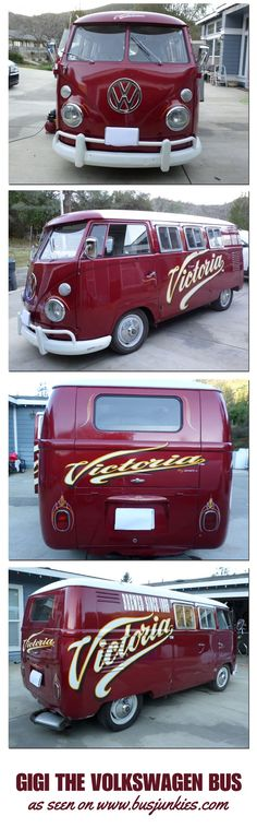 Gigi the VW bus is a 1962 Double Door camper. Originally a panel bus, Gigi was later converted to a camper bus by Riviera Campers. In 2008, the Pacifico Beer Company, bought 20 VW buses to be painted, and used for the company, Gigi is one of them. ☮ pinned by @wfpblogs www.wfpblogs.com