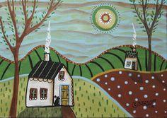 Sitting 5x7inch Original Canvas Panel Painting Folk Art Cat Landscape Karla G   eBay
