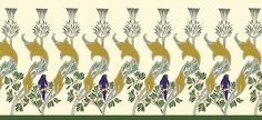 Trustworth Wallpaper Borders  Bird and Thistle is an elegant simple pattern of repeating thistles with a rather regal bird to keep watch over your own domain. The earth tones and touch of bird color will combine well with either natural or painted wood. This border, like all our others, is scaleable to your requirements.  This border can be scaled to your requirements.  $7.00/ square foot