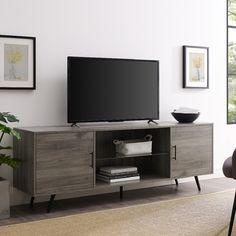 "70"" Mid Century Modern TV Stand in Slate Grey - Walker Edison W70NORSG"