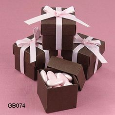 pink soaps in cute brown boxes