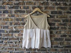 Linen and Lace Upcycled Wrap Tank Top // Deep V Neck by emmevielle, $48.00
