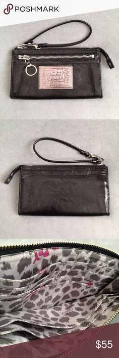 Coach Poppy Black Patent Leather Zippy Wristlet Such a great design, but too large for me so it's barely used. Black crinkle patent leather wallet/wristlet with gunmetal Poppy patch and silver/nickel hardware. One exterior zip pocket and one slide pocket. Inside has 3 full length pockets and 6 credit card/ID slots. Pink and grey Poppy fabric lining. Shows minimal signs of wear. Slight darkening of the lining in some spots. No scuffs, scratches, stains, or odors. Hairline scratches from light…