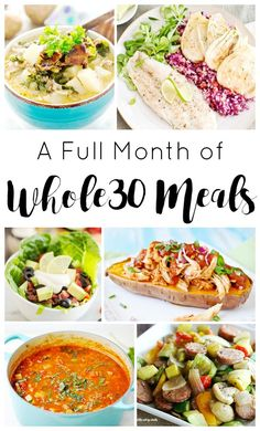 Recipes: 30 Delicious Lunches and Dinners Whole 30 Approved! - A Full Month of Delicious breakfast, lunch and dinner Recipes to Keep You On Track - Whole Foods, Whole 30 Diet, Paleo Whole 30, Whole 30 Lunch, Whole Food Diet, Clean Eating Diet, Clean Eating Recipes, Healthy Eating, Healthy Meals