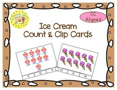 These cards are terrific for Math Centers – A Hands-On Activity your kiddos will love!  Ice Cream Clip Cards allow learners to practice counting. There are 20 clip cards. On each card is a set of pictures to count and a choice of three numerals. Learners count the pictures in the set and clip a clothespin to the numeral that corresponds with the number of pictures in the set.