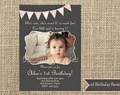 Printable Invitation-1st Birthday-Vintage Girl-First Birthday Party-Bunting Banner-Printable-DIY-Casbury Lane