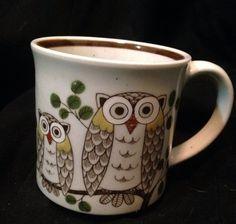 Vintage Owl Mug Coffee Cup Painted Cute Retro