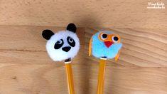Ceruzavég ötletek: bagoly és panda zsenília pompom-ból készítve - Vissza a suliba ötlet