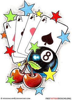 Cherry tattoo design with eightball, playing cards and stars