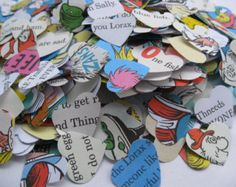"""1500 DR. SEUSS Hearts. 1"""" Die Cut Confetti Hearts. Other Amounts Available. Custom Orders Welcome."""