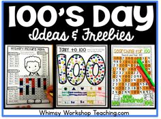 Lots of fun and interactive no prep ideas for celebrating 100's day all week…
