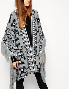 Image 3 ofASOS Blanket Cape In Pattern With Fringing