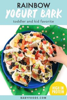 Rainbow Frozen Yogurt Bark - the perfect colorful, healthy and delicious treat for your toddler or kids this summer! Made with 3 simple ingredients - fruit, yogurt and honey, this frozen bark is super easy to make and would be a fun breakfast, snack or dessert for your little ones!! #frozenbark #toddler #kid #snack #summer Fruit Yogurt, Frozen Yogurt, Baby Food Recipes, Snack Recipes, Kitchen Recipes, Cooking Recipes, Healthy Store Bought Snacks, Healthy Snacks, Snacks For School Lunches