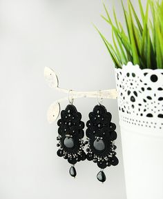 Long black soutache earrings dangle soutache earrings by pUkke
