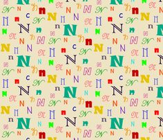 Initially_N fabric by lesleyclover-brown on Spoonflower - custom fabric