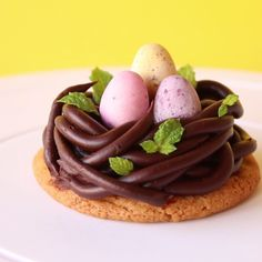 Chewy chocolate chip cookies topped with a chocolate ganache bird's nest and speckled eggs in the center.
