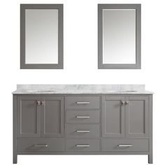 Vinnova Gela 72 in. W x 22 in. D x 35 in. H Vanity in Grey with Marble Vanity Top in White with Basin and Mirror-723072-GR-CA - The Home Depot