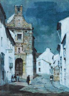 Albert Moulton Foweraker (British, 1873-1942) An Evening Street Scene, Spain, watercolour, 34 x 24.5 cm, private collection.