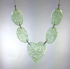 Broken china jewelry - depression glass necklace - glass statement necklace by CellarDoorShoppe on Etsy https://www.etsy.com/listing/484329726/broken-china-jewelry-depression-glass