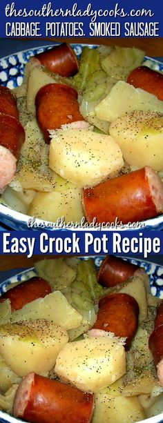 Super easy crock pot recipe for cabbage, potatoes and smoked sausage and one of our most popular recipes. Comfort food for sure. #crockpot #slowcooker #cabbage #smokedsausage #sausage #potatoes #recipes #comfortfood #maindishes Smoked Sausage Recipes, Sausage Crockpot, Keto Crockpot Recipes, Crockpot Dishes, Crock Pot Cooking, Slow Cooker Recipes, Cooking Recipes, Crockpot Cabbage Recipes, Recipes For Cabbage
