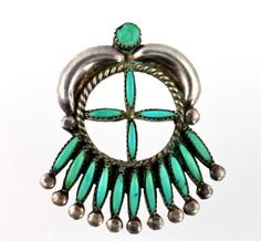Vintage Zuni Sterling Silver Needlepoint Turquoise Pendant