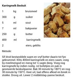 Karringmelk beskuit Rusk Recipe, Bread Recipes, Cooking Recipes, Cheese Biscuits, South African Recipes, Daily Bread, Cheap Meals, Bread Baking, Kos