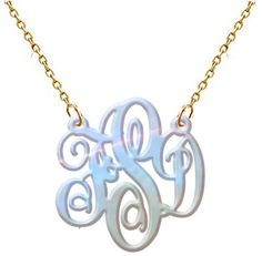 Monogram necklace Rose Pearl Hand Made Custom  Monogram Initials Personalized 1 Girl Jewelry  Acrylic  Bracelet   Earrings  Keychain, $28.0