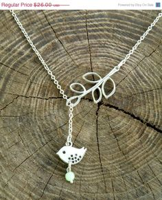 FREE SHIPPING Lariat Bird and Branch Sterling Silver Necklace, Minimalist style,  Bird Jewelry, Bird charm, Leaf Pendant, Wedding jewelry by Eternity31 on Etsy https://www.etsy.com/listing/161796021/free-shipping-lariat-bird-and-branch