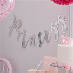 Silver Princess Banner, Silver Stars and Foiled Silver Cut Out Banner, Princess Banner, Princess Party and Decorations, Princess Bunting Little Girl Birthday, First Birthday Parties, Birthday Party Decorations, Boy Birthday, First Birthdays, Princess Party Supplies, Princess Party Favors, Princess Birthday, Décoration Baby Shower