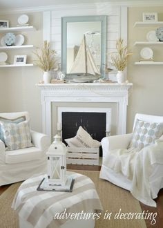 Bright and airy nautical-themed living room #nautical #livingroom #beachhouse #coastaldecor #coastalstyle