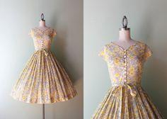 1950s Golden Poppies Dress / Vintage 50s Soft Cotton Dress / Fifties Floral Dress