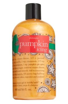 Pumpkin Icing philosophy shampoo, shower gel & bubble bath available at Nordstrom