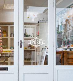 """Push"" Decorative retail door vinyl decal sticker for commerical glass front door signage. Glass Front Door, Glass Door, Door Signage, Decoration Vitrine, Retail Windows, Retail Interior, Retail Space, Window Stickers, Vinyl Designs"