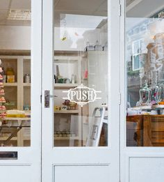 """if I had a store... """"Push"""" Decorative retail door vinyl decal sticker for commerical glass front door signage."""