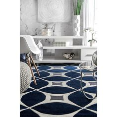 Stay on trend with the contemporary look of the nuLOOM Navy Hand Tufted Gabriela Area Rug. This Hand Tufted, Polyester versatile rug features a stylish Geometric pattern that will compliment any room. Navy Rug, Navy Blue Area Rug, Living Room Grey, Rugs In Living Room, Blue And White Rug, Plush Area Rugs, Wood Plank Flooring, Buy Rugs, Rugs Usa
