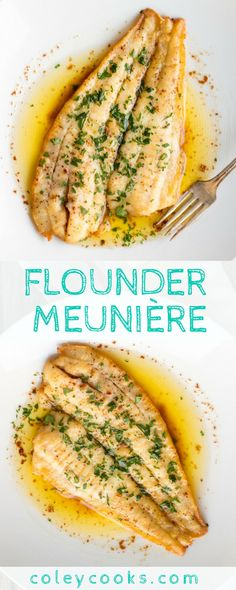 FLOUNDER MEUNIÈRE Easiest ever fish recipe This classic French recipe is so simple and so delicious Ready in under 10 minutes for a quick and easy seafood dinner. Easy Fish Recipes, Seafood Recipes, Dinner Recipes, Easy Meals, Cooking Recipes, Healthy Recipes, Seafood Appetizers, Salmon Recipes, Veg Recipes